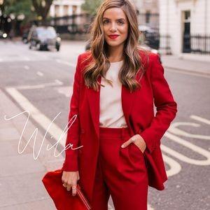 Red blazer jacket coat long 843920